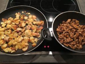 Bratkartoffeln und Gyros