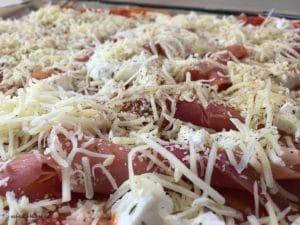 Selbstgemachte Pizza belegt und gewürzt