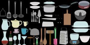 Küchengeräte wie Kochgeschirr