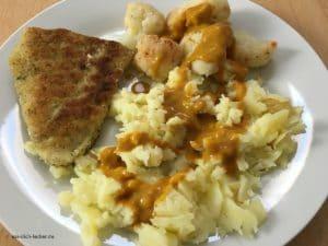 Filetspitzen mit Stampfkartoffeln, Blumenkohl und Rahmsoße
